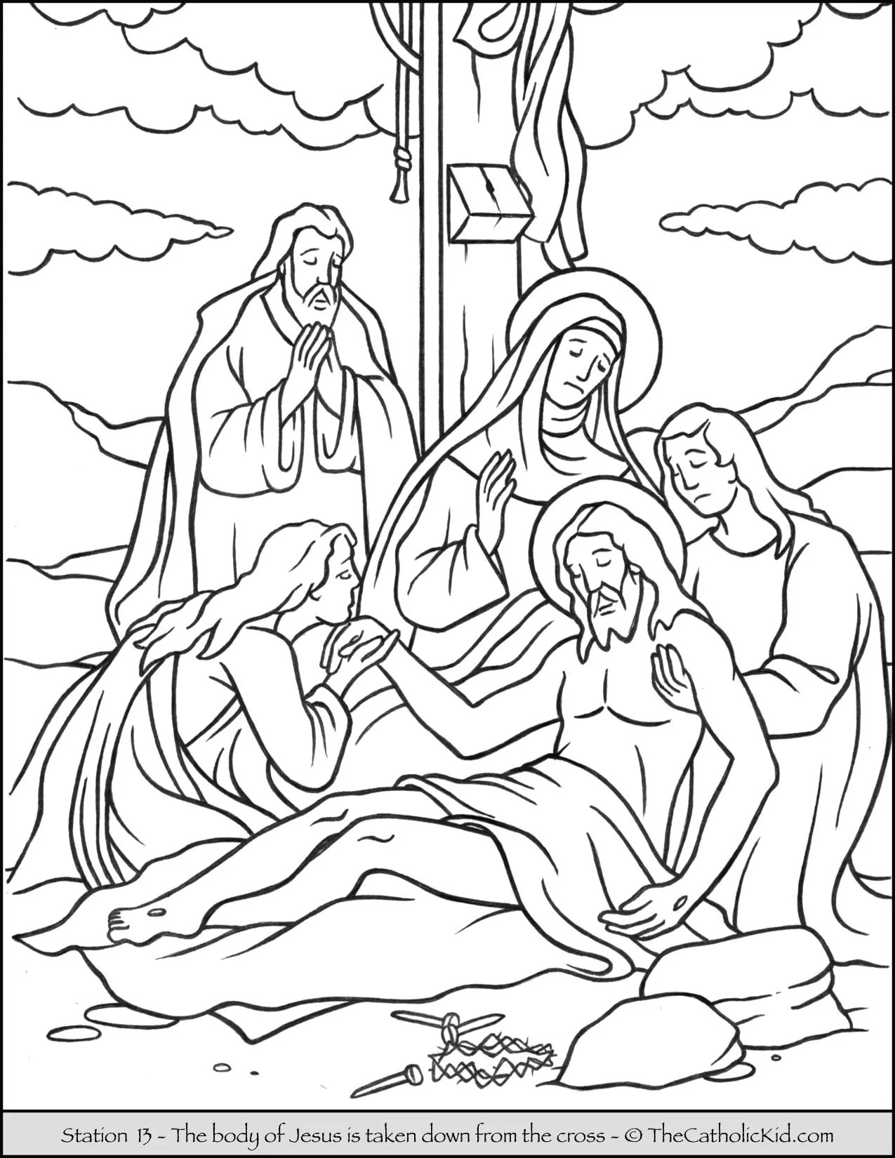 Stations of the Cross Catholic Coloring Pages for Kids