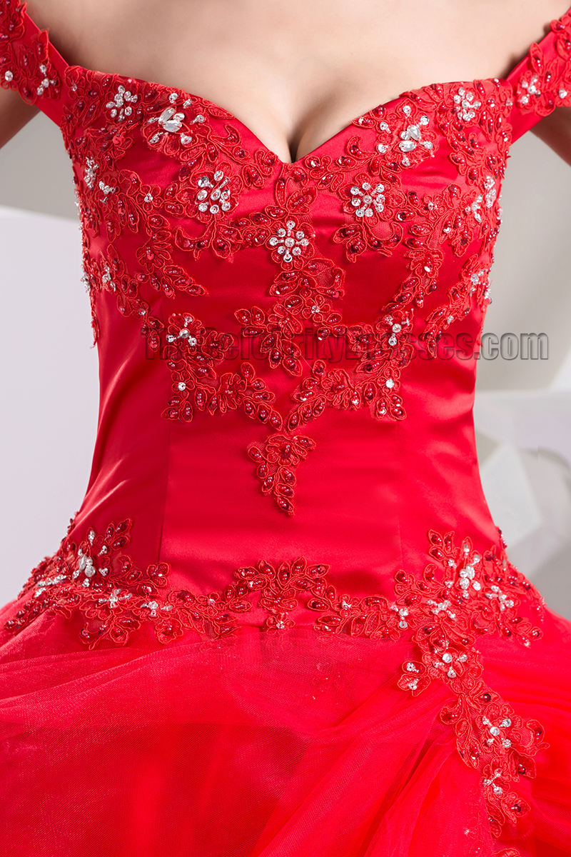 Ball Gown Red OfftheShoulder Beaded Lace Up Pageant Formal Dress  TheCelebrityDresses