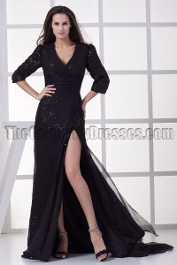 Black V-Neck Formal Gown Prom Evening Dresses ...