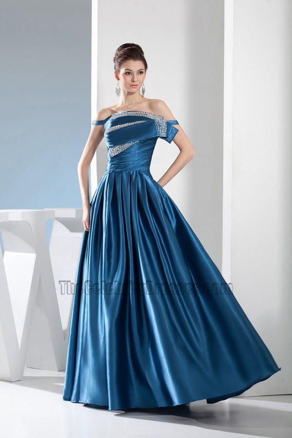Blue -shoulder -line Formal Dress Evening Prom