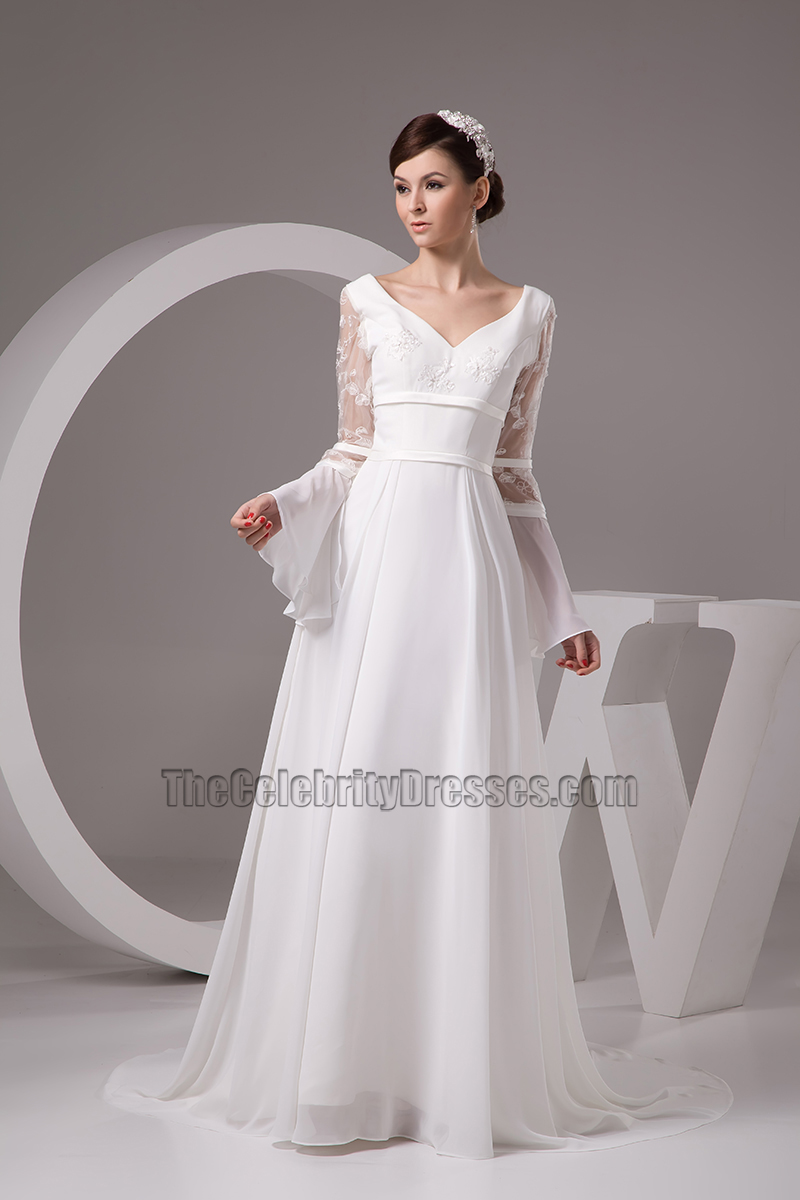 Chapel Train Long Sleeve Wedding Dress Bridal Gown  TheCelebrityDresses