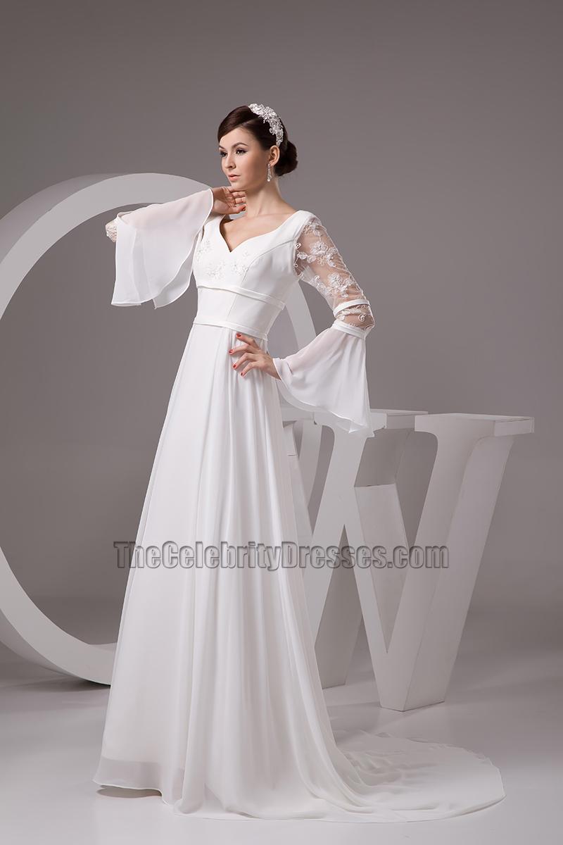 Chapel Train Long Sleeve Wedding Dress Bridal Gown