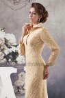 Chic Gold Long Sleeve Lace Formal Dress