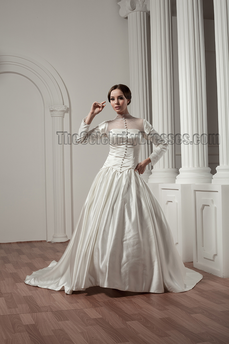 Classic Long Sleeve ALine Chapel Train Wedding Dresses  TheCelebrityDresses