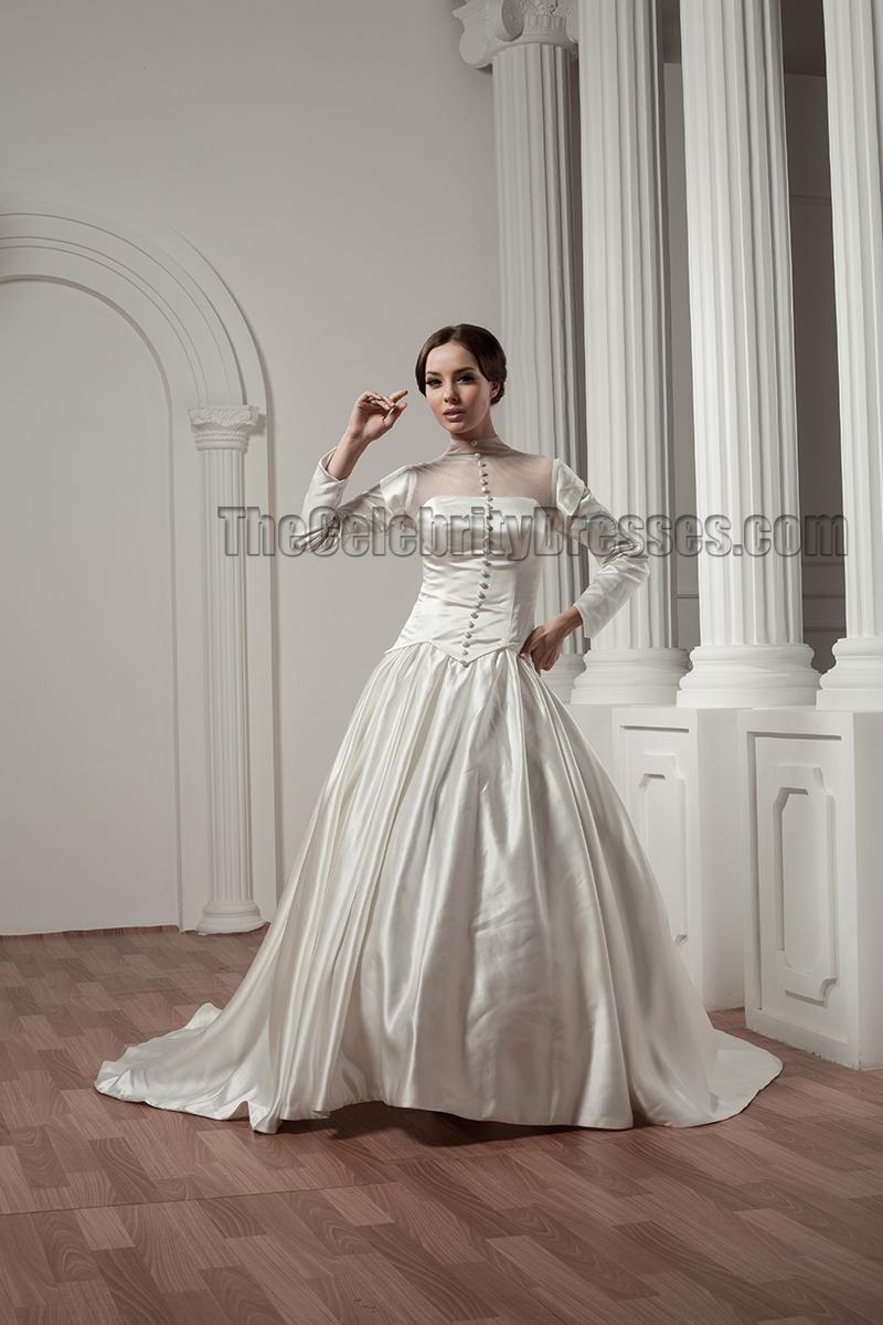 Classic Long Sleeve ALine Chapel Train Wedding Dresses
