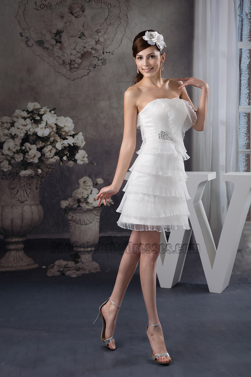 Discount Strapless Organza Ruffles Party Short Wedding Dress  TheCelebrityDresses
