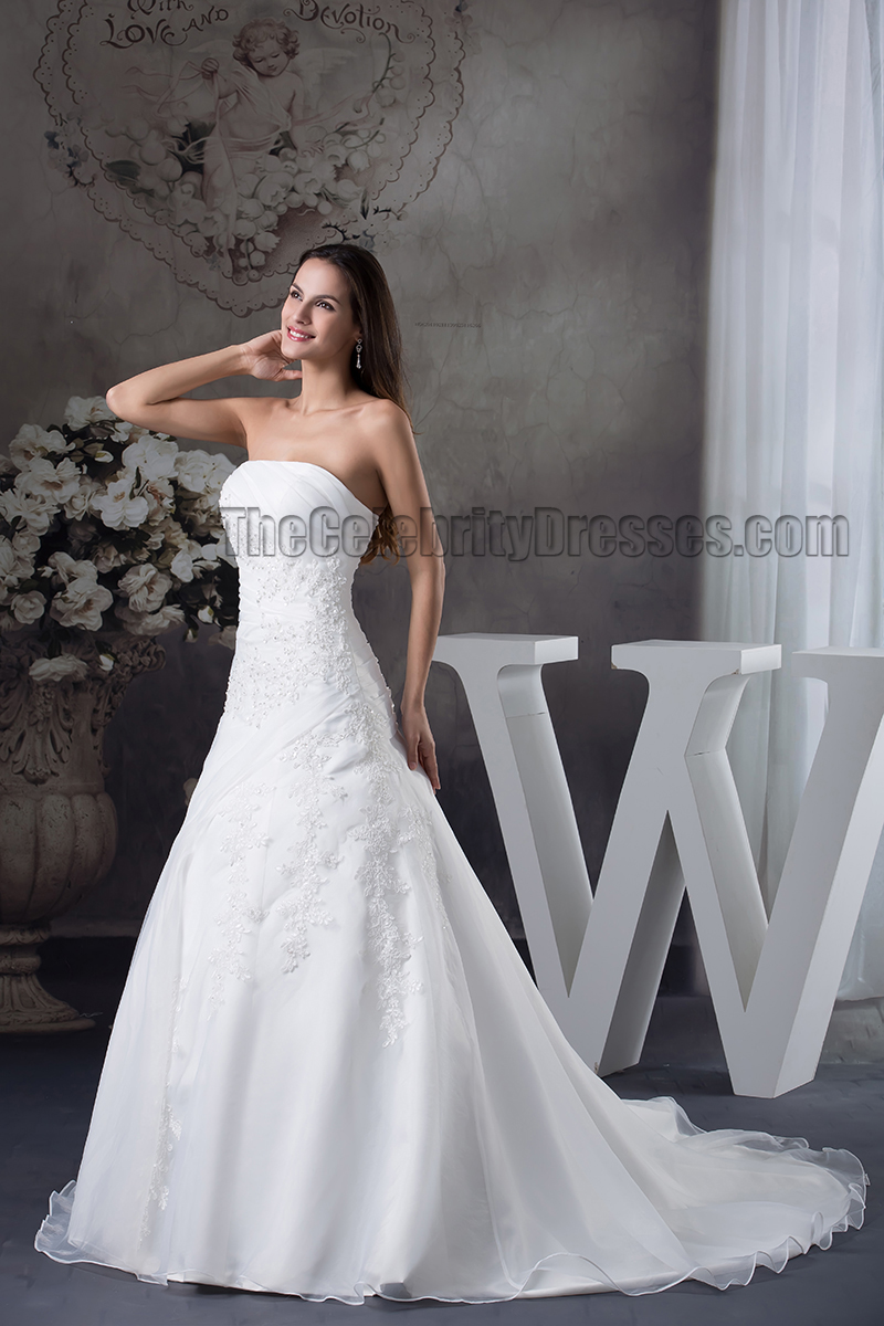 Elegant Strapless ALine Chapel Train Embroidery Wedding
