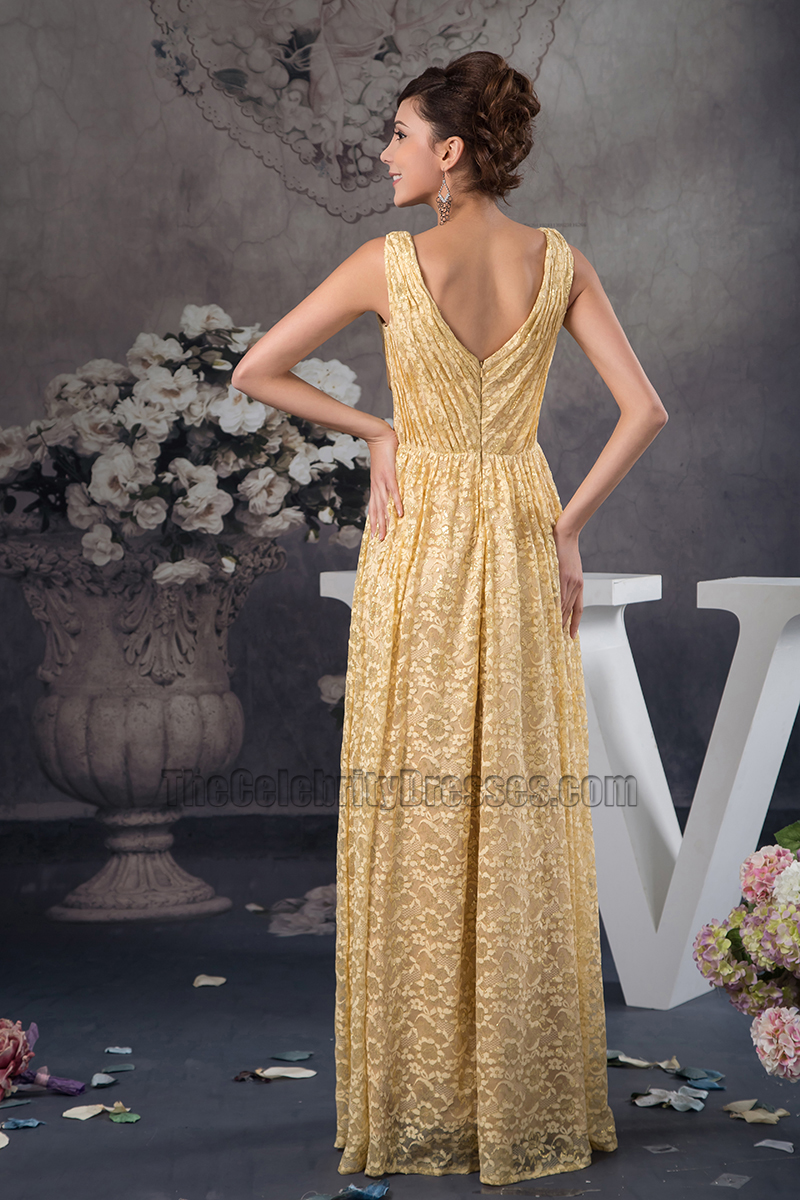 Floor Length Gold Lace VNeck Formal Dress Prom Gown