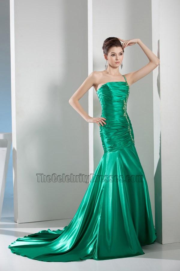 Green Shoulder Mermaid Formal Dress Prom Evening Gown