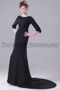 Long Black 3/4 Sleeve Formal Dress Evening Gown ...