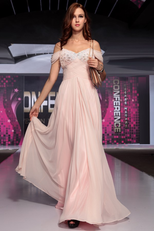Pink Beaded -shoulder Chiffon Prom Gown Evening