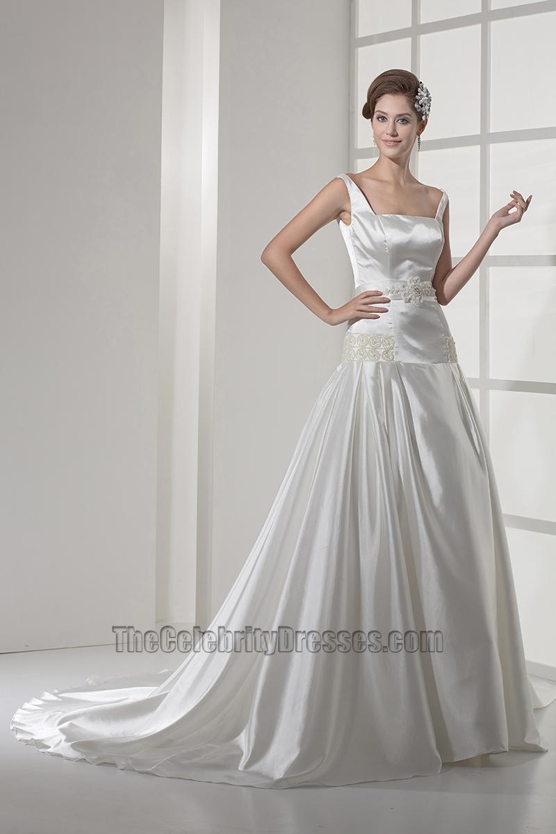 Square Neckline Silk Like Satin ALine Wedding Dress  TheCelebrityDresses