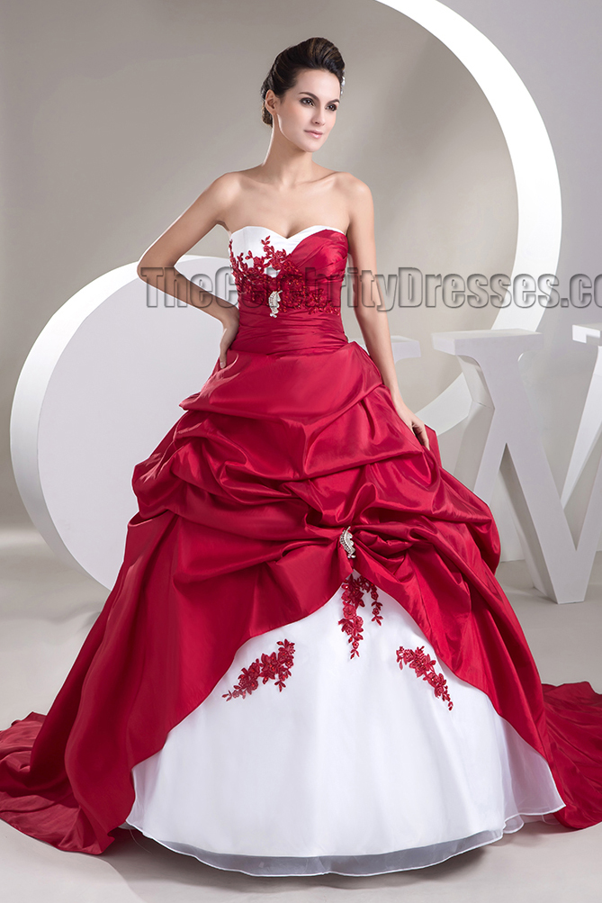 Strapless Sweetheart ALine White And Burgundy Wedding Dress  TheCelebrityDresses