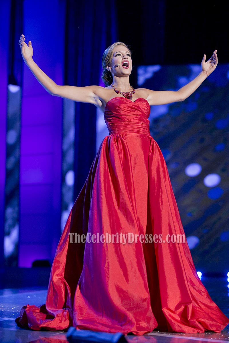 Betty Cantrell Red Strapless Evening Prom Gown Miss