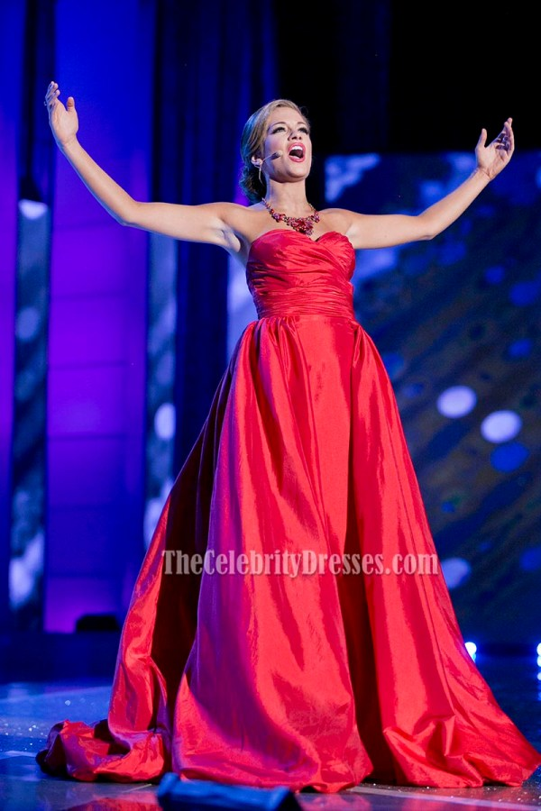 Betty Cantrell Red Strapless Evening Prom Gown