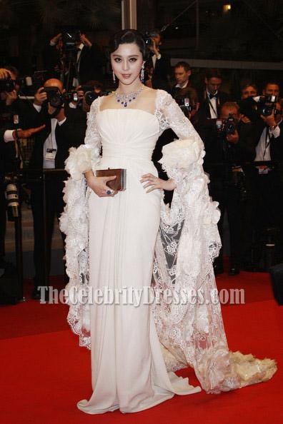 Celebrity Dresses Fan Bingbing White Prom Dress Cannes