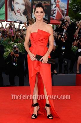 Sandra Bullock Red Formal Dress Gravity Venice Film Festival Premiere Red Carpet
