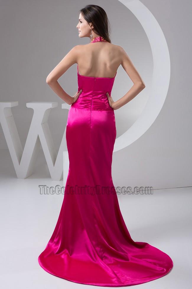 Fuchsia Halter Silk Like Satin Evening Gown Prom Dresses  TheCelebrityDresses
