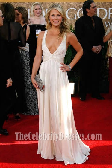 Ali Larter Sexy Deep V Neck Prom Dress 2007 Golden Globe