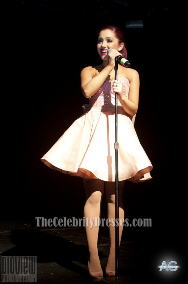 Ariana Grande Cute Pink Cocktail Dress Irving Plaza