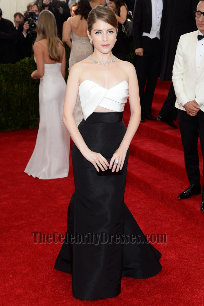 Anna Kendrick White And Black Formal Dress 2014 Met Gala