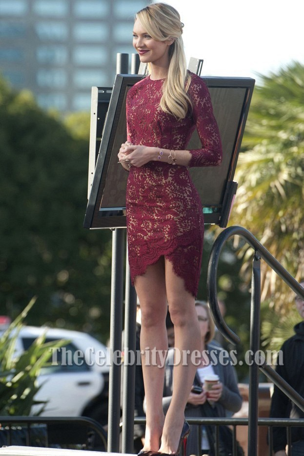 Candice Swanepoel Short Burgundy Lace Party Cocktail Dresses  TheCelebrityDresses