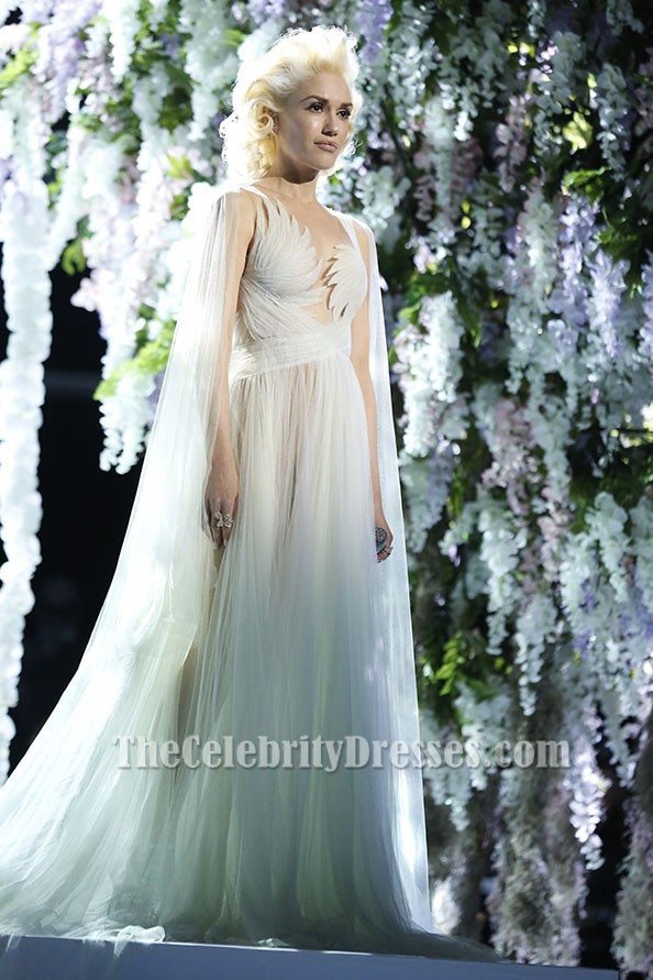 Gwen Stefani Ivory Tulle Evening Dress Bridal Gown The