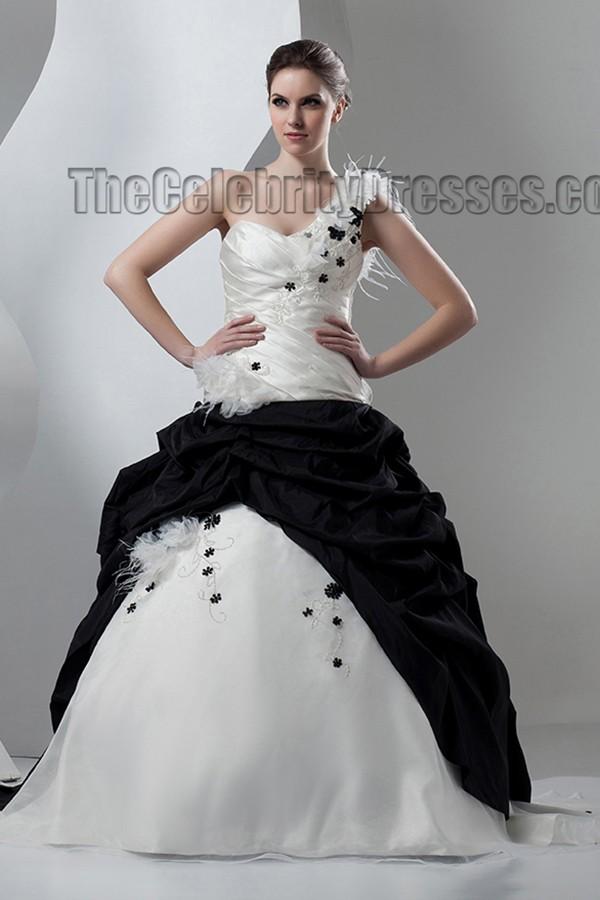 Ivory And Black One Shoulder ALine Wedding Dresses  TheCelebrityDresses