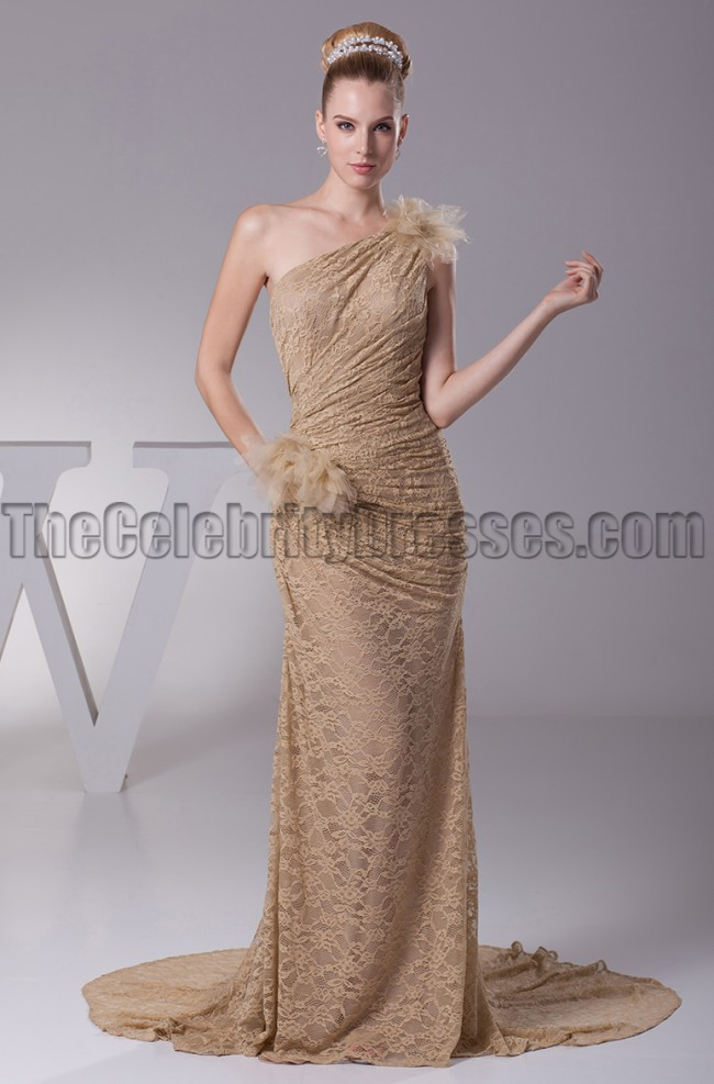 Champagne Lace One Shoulder Prom Gown Evening Dresses  TheCelebrityDresses