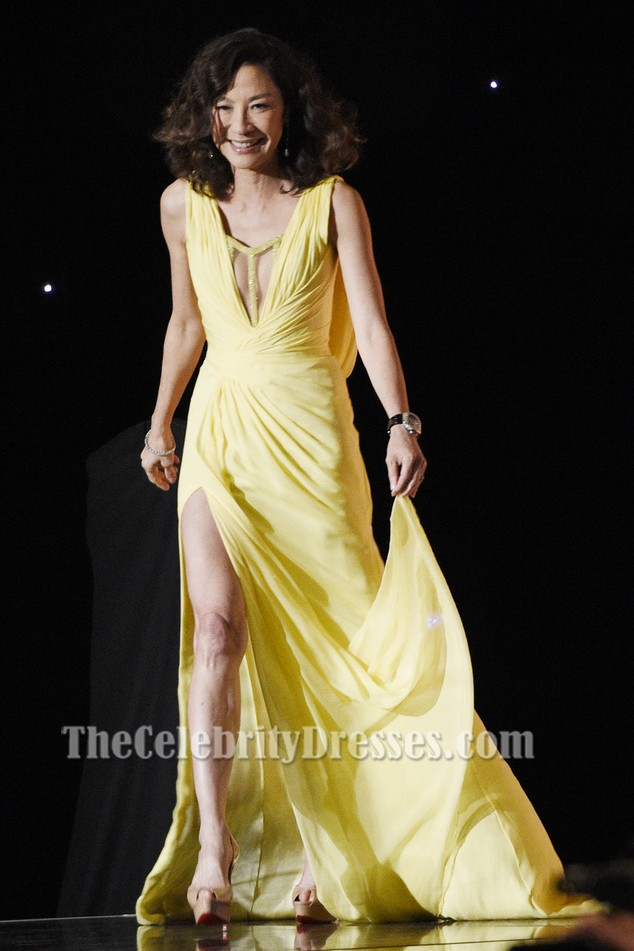 MICHELLE YEOH Yellow Evening Dress AMPAS 8th Annual