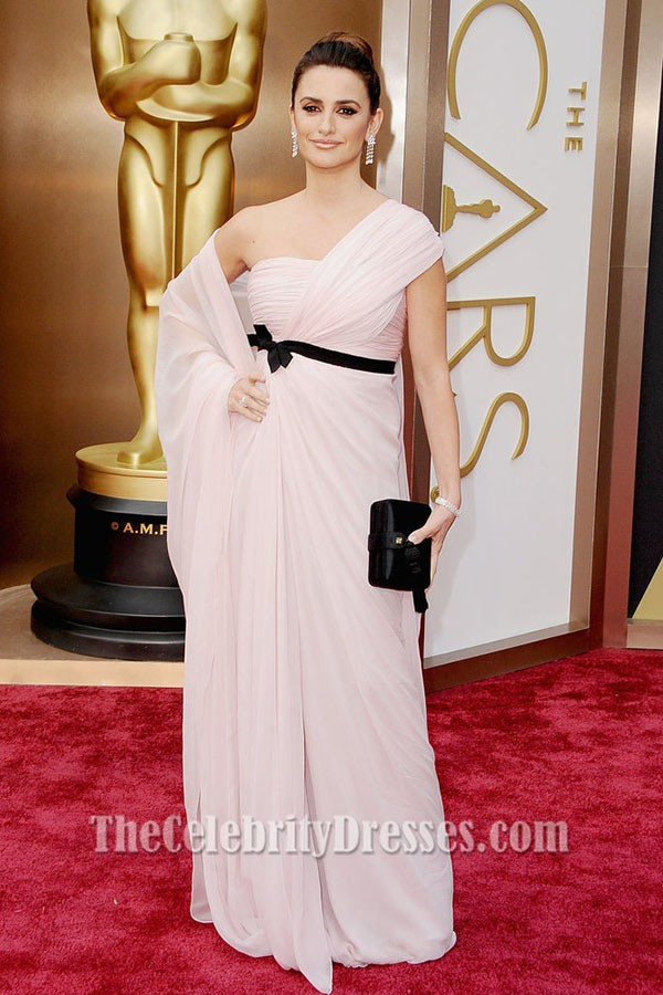 Penelope Cruz One Shoulder Formal Dress 2014 Oscar Red