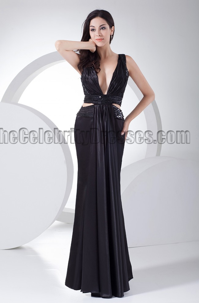 Sexy Black Deep VNeck Evening Dress Prom Gown