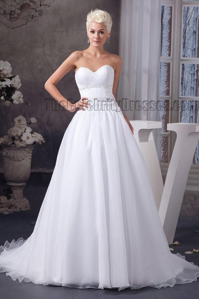 Simple ALine Sweetheart Strapless Beaded Wedding Dresses