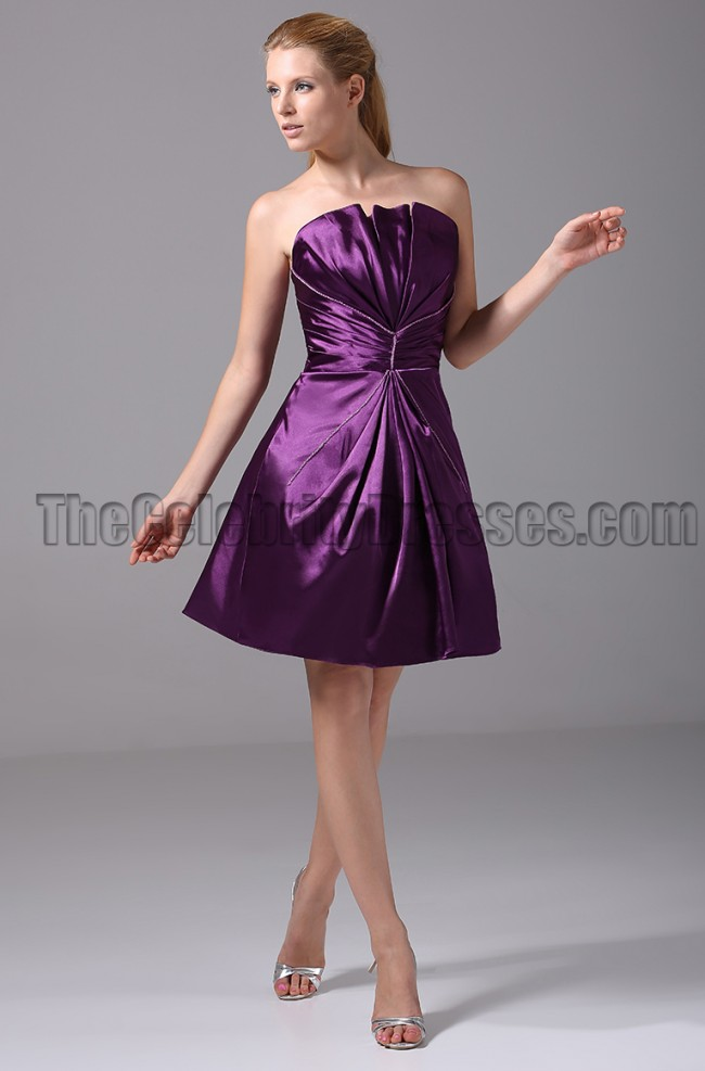 Short Purple Strapless Bridesmaid Graduation Party Dresses  TheCelebrityDresses