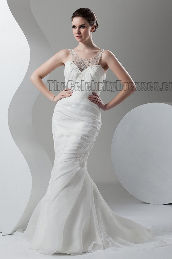 Trumpet Mermaid SweepBrush Train Bridal Gown Wedding
