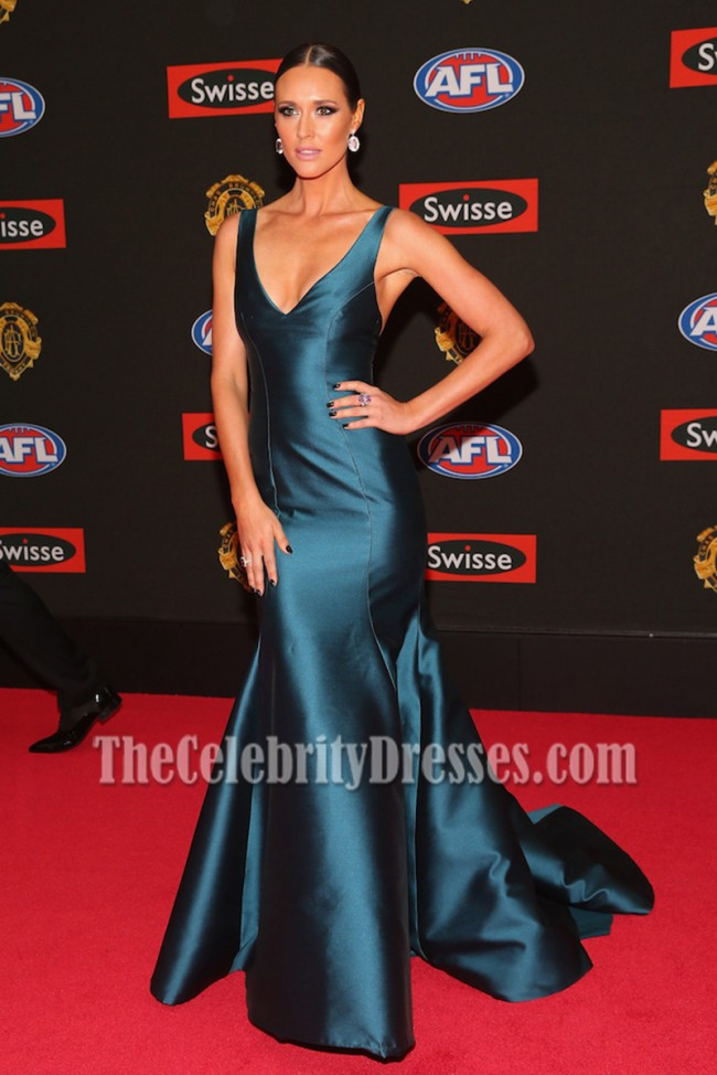 Clementine Mcveigh Deep Blue Vneck Long Mermaid Evening Prom Gown 2015 Brownlow Medal