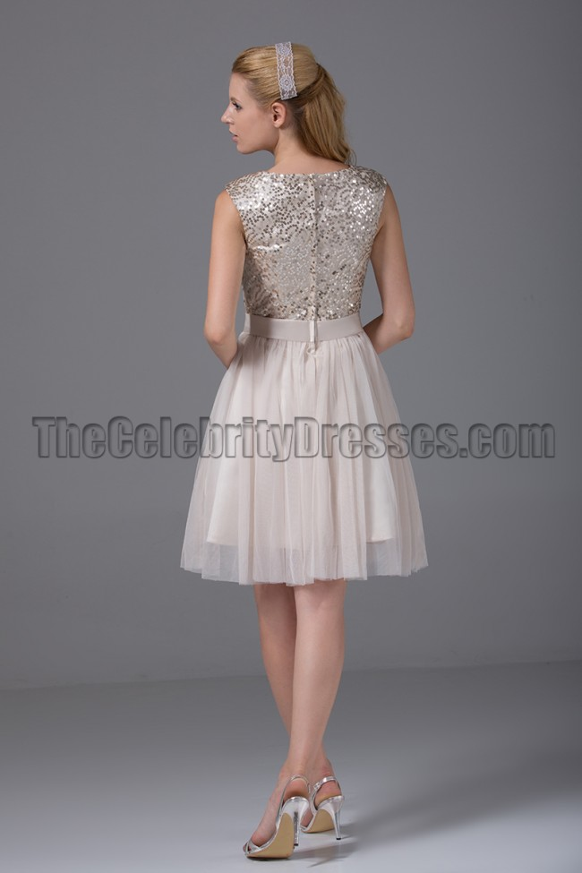 Cute Short ALine Sequined Party Homecoming Dresses
