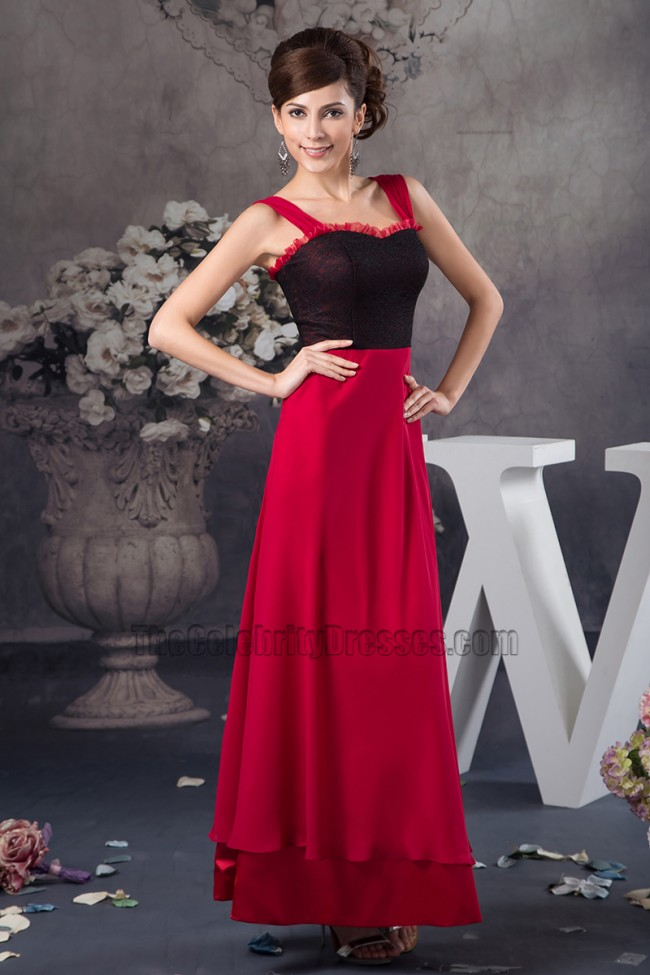 Discount Red And Black ALine Prom Gown Evening Dress