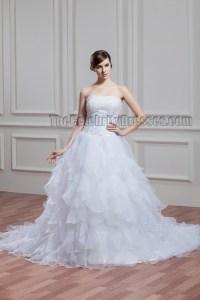 Elegant Strapless Beaded A-Line Chapel Train Wedding Dress ...