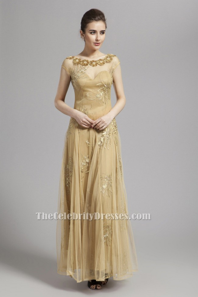 Floor Length Gold Tulle Prom Dress Backless Evening Gown