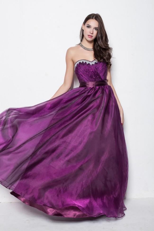 Floor Length Purple Strapless Sweetheart ALine Evening Prom Dresses  TheCelebrityDresses