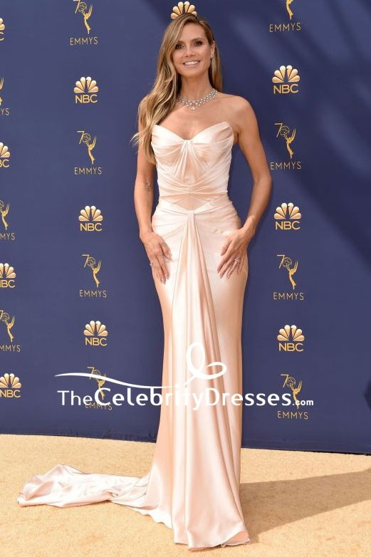 Heidi Klum Strapless Mermaid Evening Dress Emmys 2018