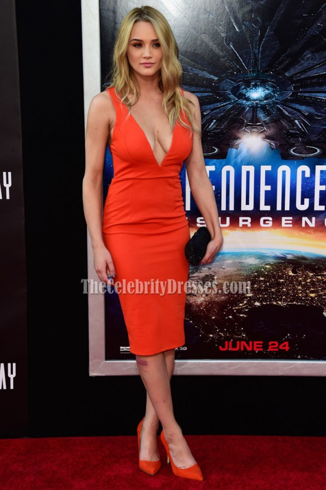 Hunter King Orange Knee Length Deep VNeck Party Cocktail