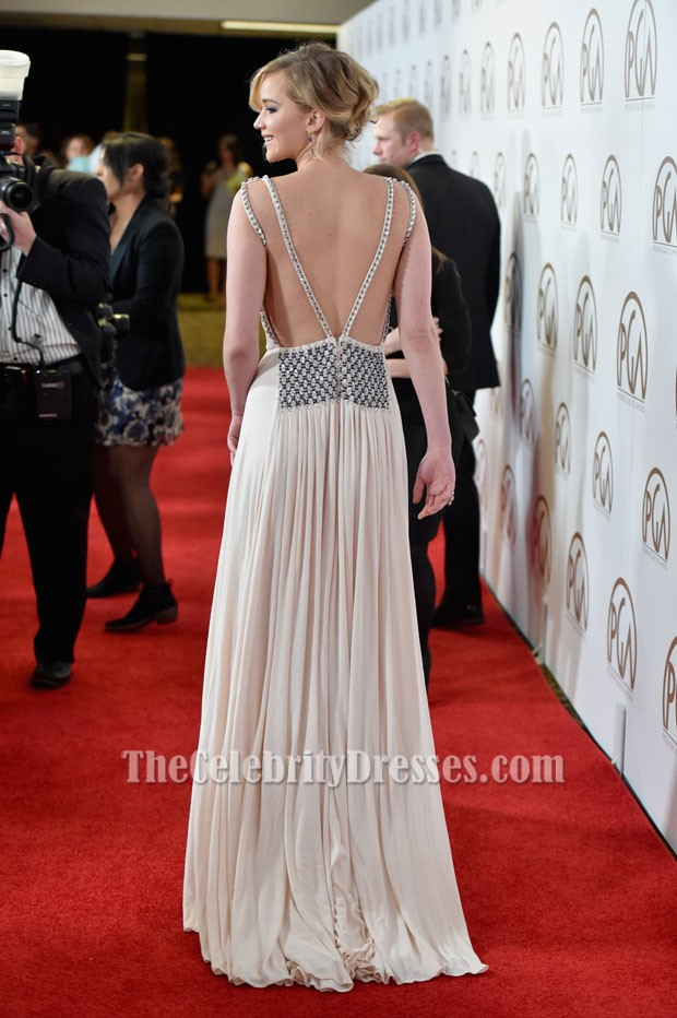 Jennifer Lawrence Sexy Evening Dress 2015 Producers Guild