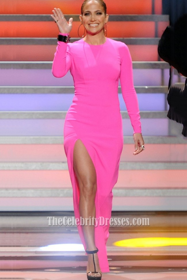 Jennifer Lopez American Idol Pink Long Sleeved High Slit Evening Prom  TheCelebrityDresses