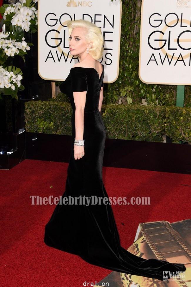 Lady Gaga Black Velvet Formal Dress Golden Globes 2016 Red