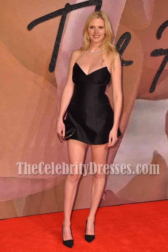 Lara Stone Black Strapless Mini Dress Fashion Awards 2016