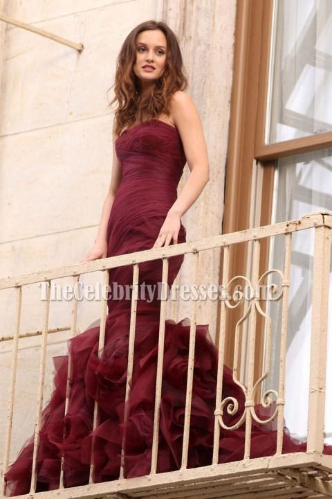 Leighton Meester Burgundy Strapless Mermaid Prom Dress Gossip Girl  TheCelebrityDresses
