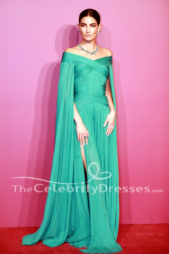 Lily Aldridge Green Evening Dress Bvlgari Festa High Jewelry Event Gown  TheCelebrityDresses