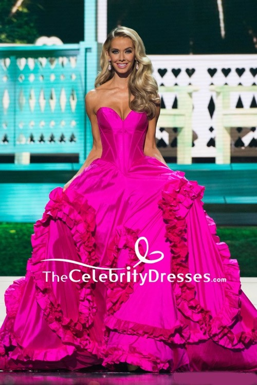 Olivia Jordan Fuchsia Strapless Ruffled Ball Gown Miss USA